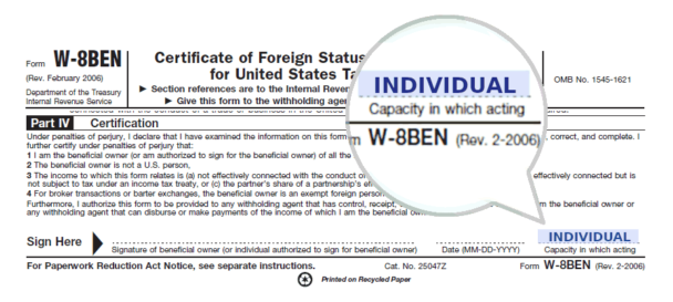 W-8BEN: Capacity in which acting